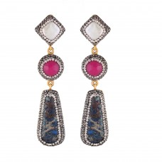 Blue fuscia tier earrings