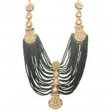 Royal green crystals kundan necklace