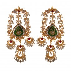 Amira meenakari earrings green