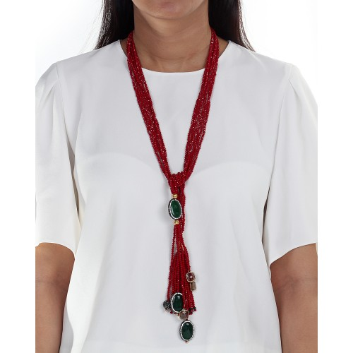 Red hydro tie necklace
