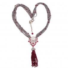 Grey crystals CZ tassel necklace