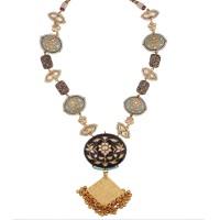 Pastel blue and black meena necklace