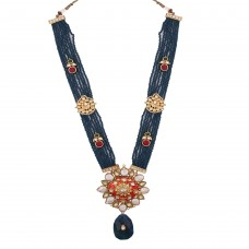 Blue crystal meena necklace