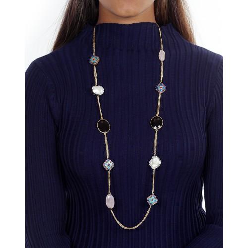 Elegant mix stones chain