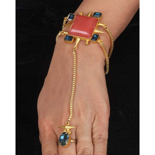 Peach and Blue crystal Hand harness