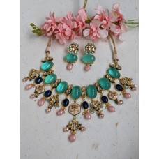 Amira Flourite and kundan necklace set