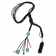 Black Hydro Tie Necklace
