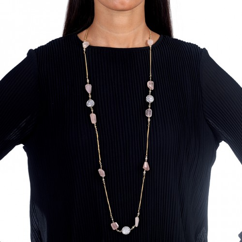 Rose Quartz and Baroque pearl Long Necklace