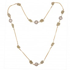 Green Amethyst an Baroque pearl long Necklace