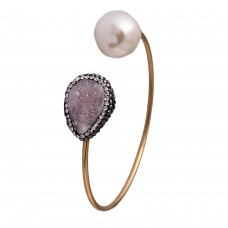 Druzy pearl cuff