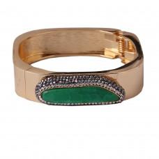 Green agate square bangle