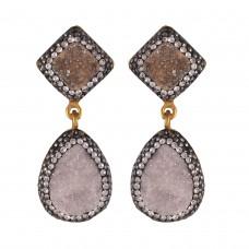 Diamond druzy earrings