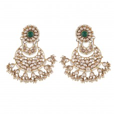 Green uncut chaand earrings