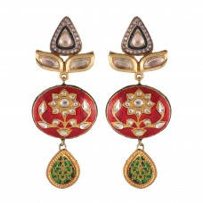 Oval kundan and thewa earrings