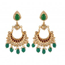 Green pear kundan chaand earrings