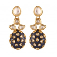 Oval Meenakari Drop Earrings